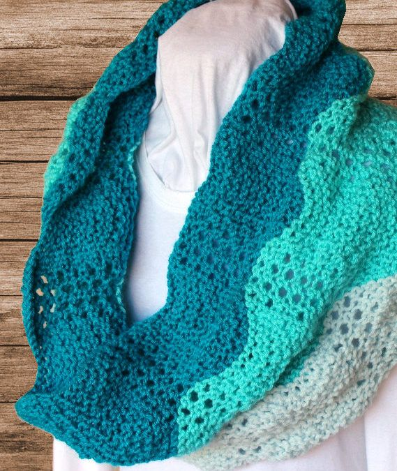 Knitting Pattern for Lace Ripple Cowl - This easy color ...