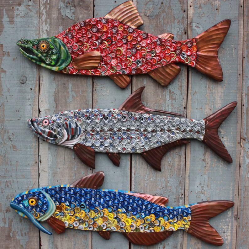 38 Sockeye Salmon Bottle Cap Art Metal Fish Wall Art Etsy Beer Cap Crafts Metal Fish Wall Art Bottle Cap Art