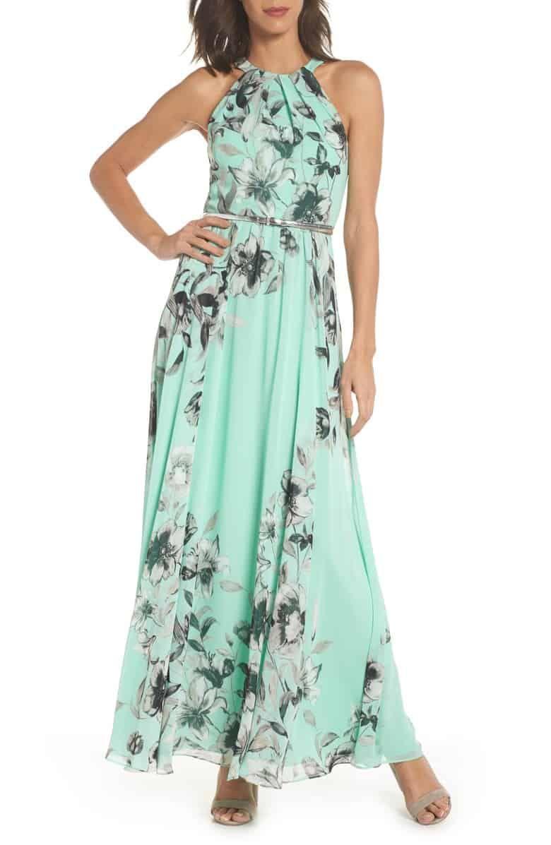 Mint Green Chiffon Floral Maxi Dress For A Wedding Guest Floral Chiffon Maxi Dress Long Dresses Casual Maxi Maxi Dress [ 1197 x 780 Pixel ]