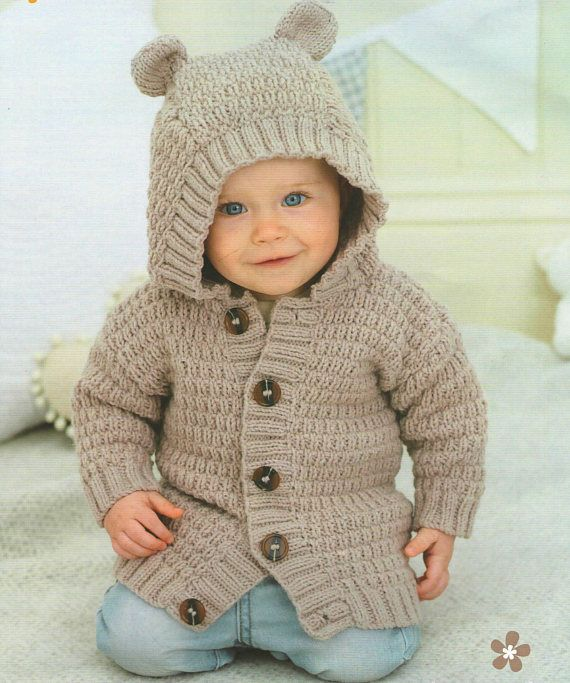 Babychildrens Jacket With Hoodie And Ears Knitting Pattern Pdf