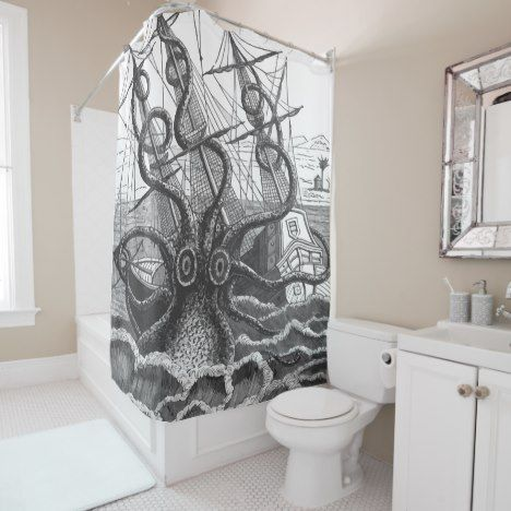 Vintage Giant Kraken Octopus Attacks Pirate Ship Shower Curtain Check Out This Wonderful Get Something Different Than What Is In The Store