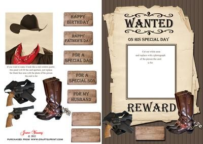 Downloadable cards - pay once per design, print that design as many times as you like!     Wanted Poster  designed by June Young - A mock Western style Wanted poster.