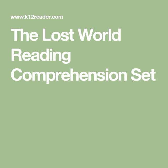 The Lost World Reading Comprehension Set   Worksheets   Pinterest