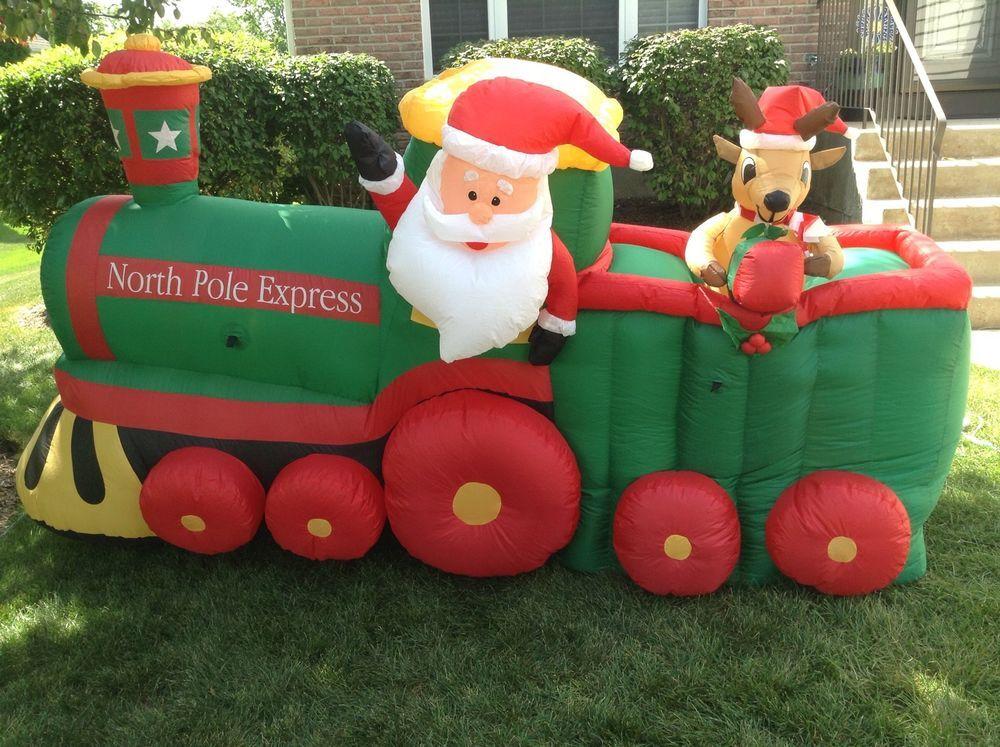 Gemmy Airblown Inflatable Santa Train Outdoor Christmas