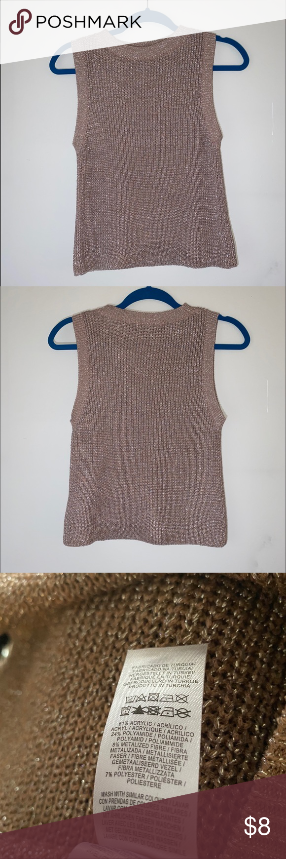 Atmosphere Rose Gold Tank Top A rose gold ribbed sparkle tank. Very good condition. Slim-fit. Atmosphere Tops Tank Tops #crochettanktops
