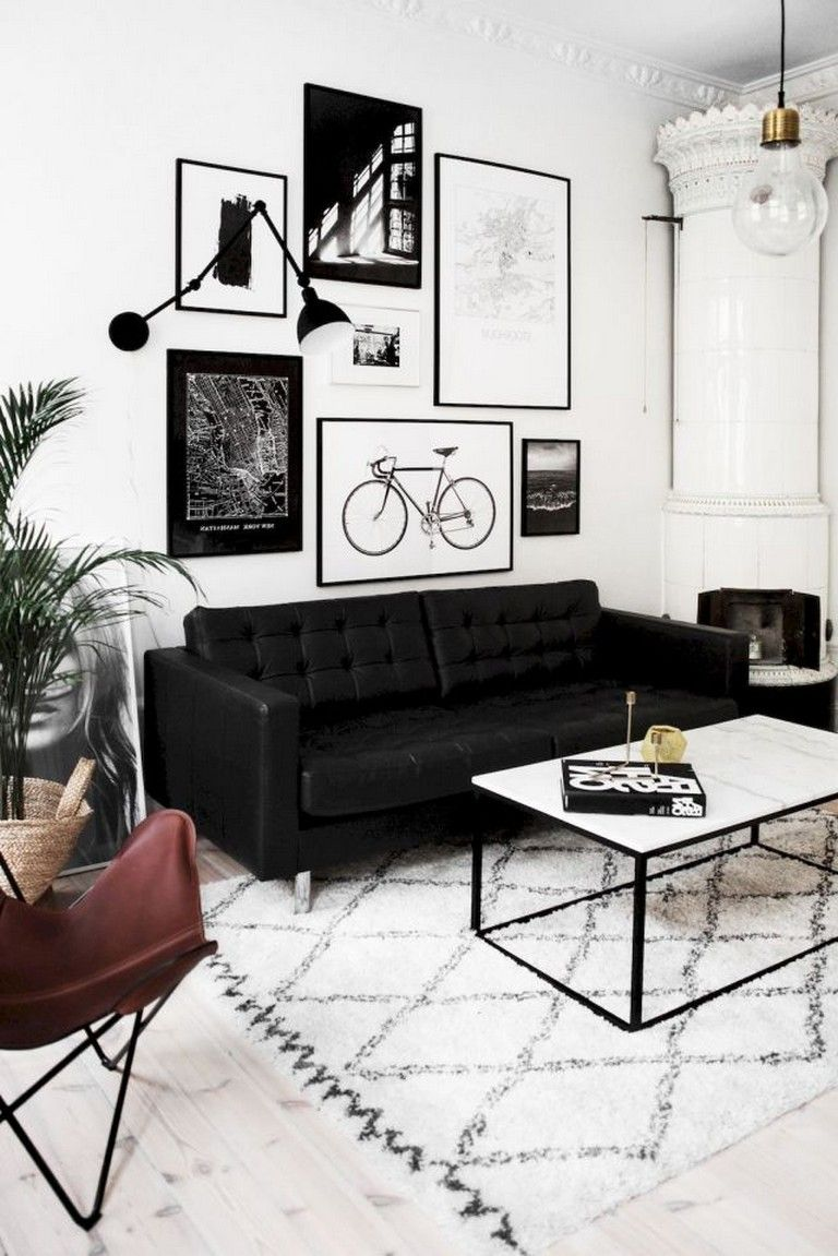 75 Luxury Apartment Living Room In Black And White Style I