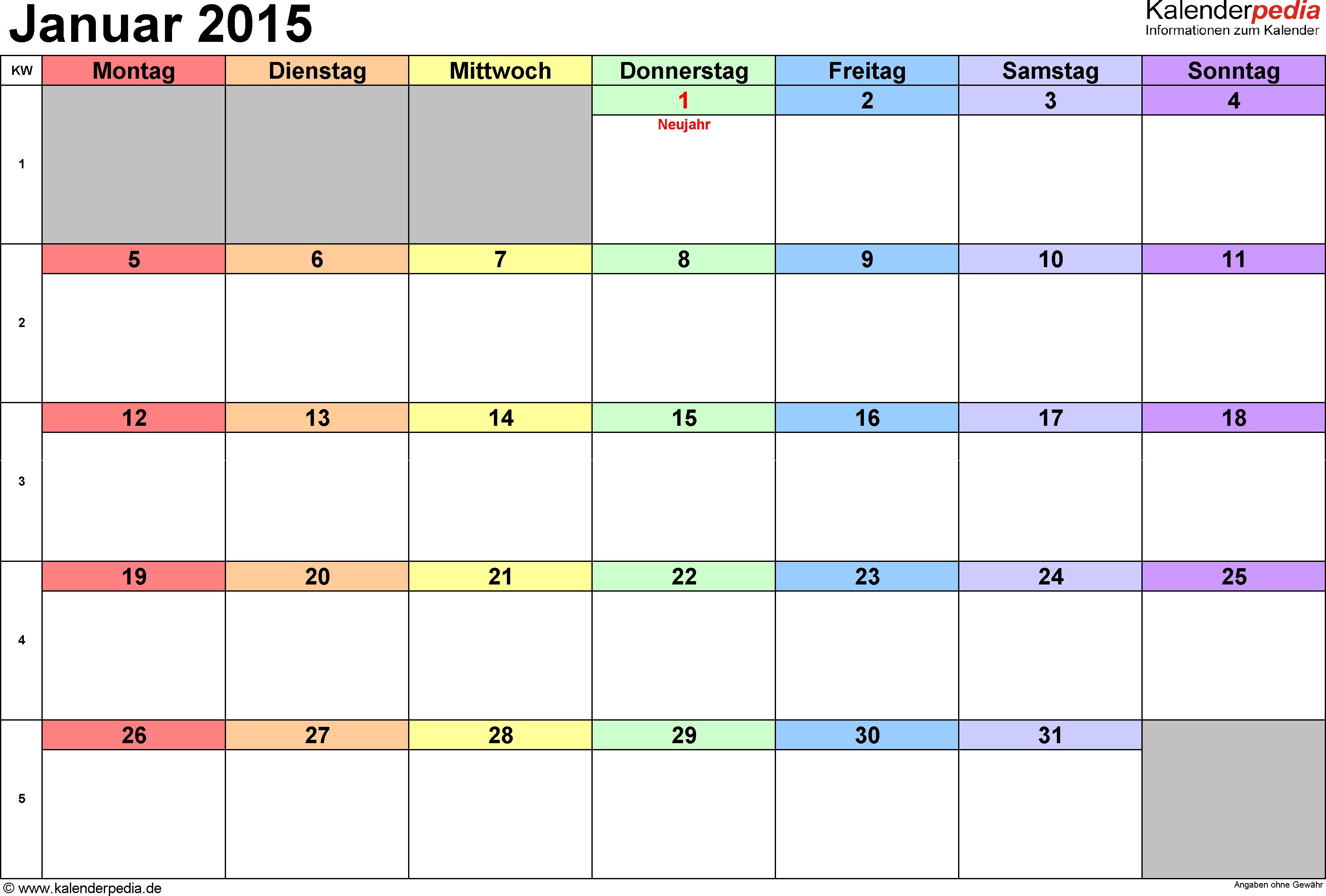 Praktische, vielseitige Monatskalender als Vorlagen im Microsoft ...