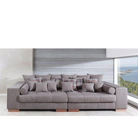 Canapé Avec Assise XXL Revêtu Microfibre Qualité Luxe Gris Vue - Formation decorateur interieur avec canapé de qualité