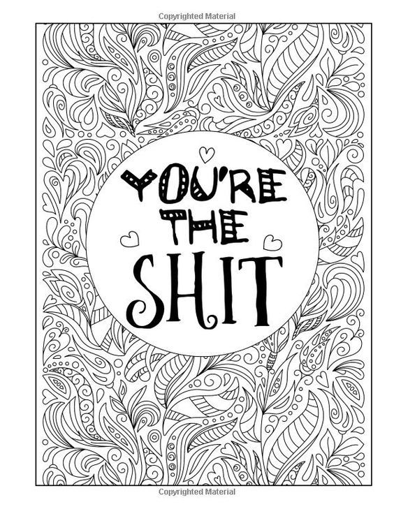 You\'re the shit. Swear words adult coloring book pages | Other ...
