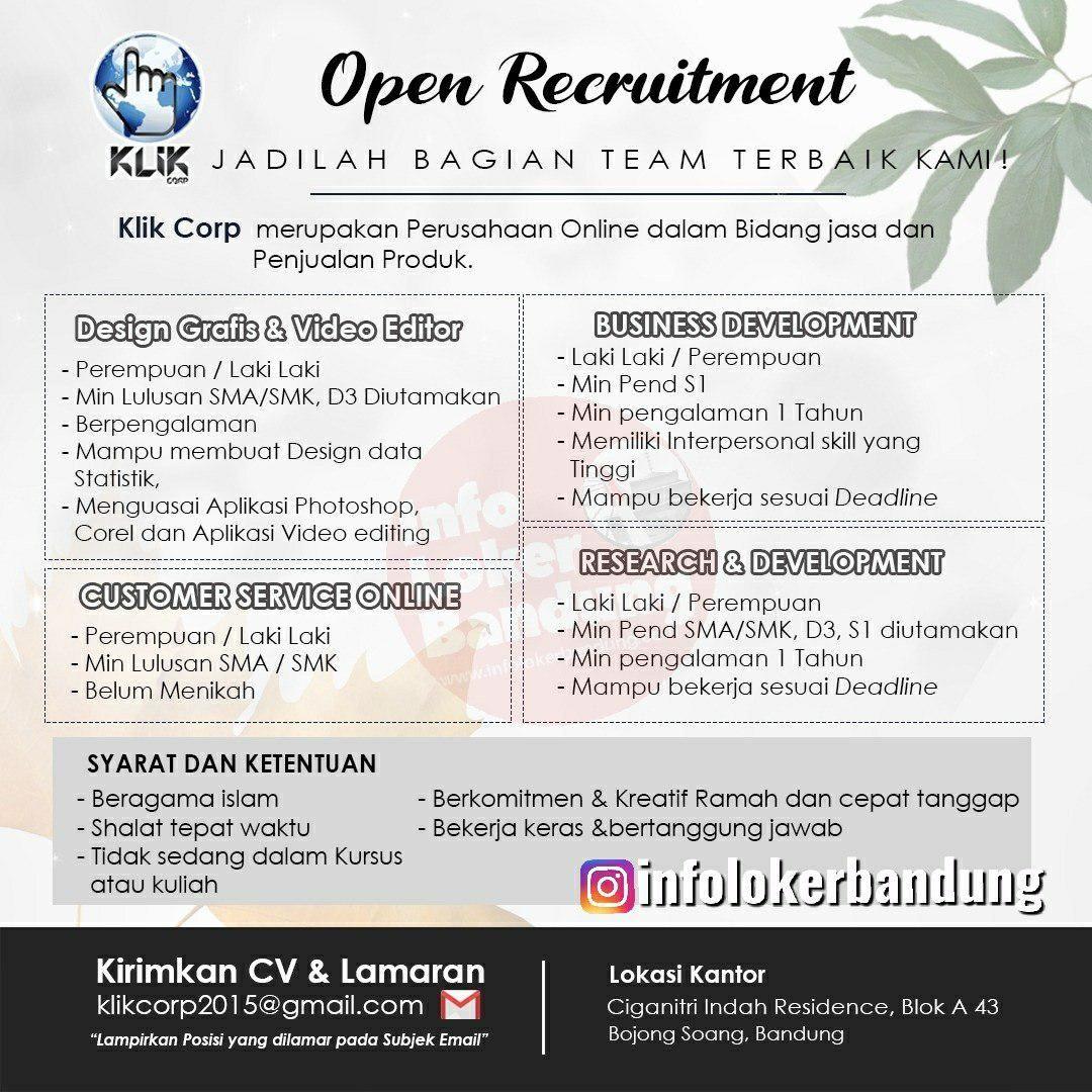 Lowongan Kerja Klik Corp Bandung November 2019 November 2019