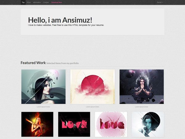 Resume HTML Template Free Personal vCard \ Resume HTML Templates - free resume html template
