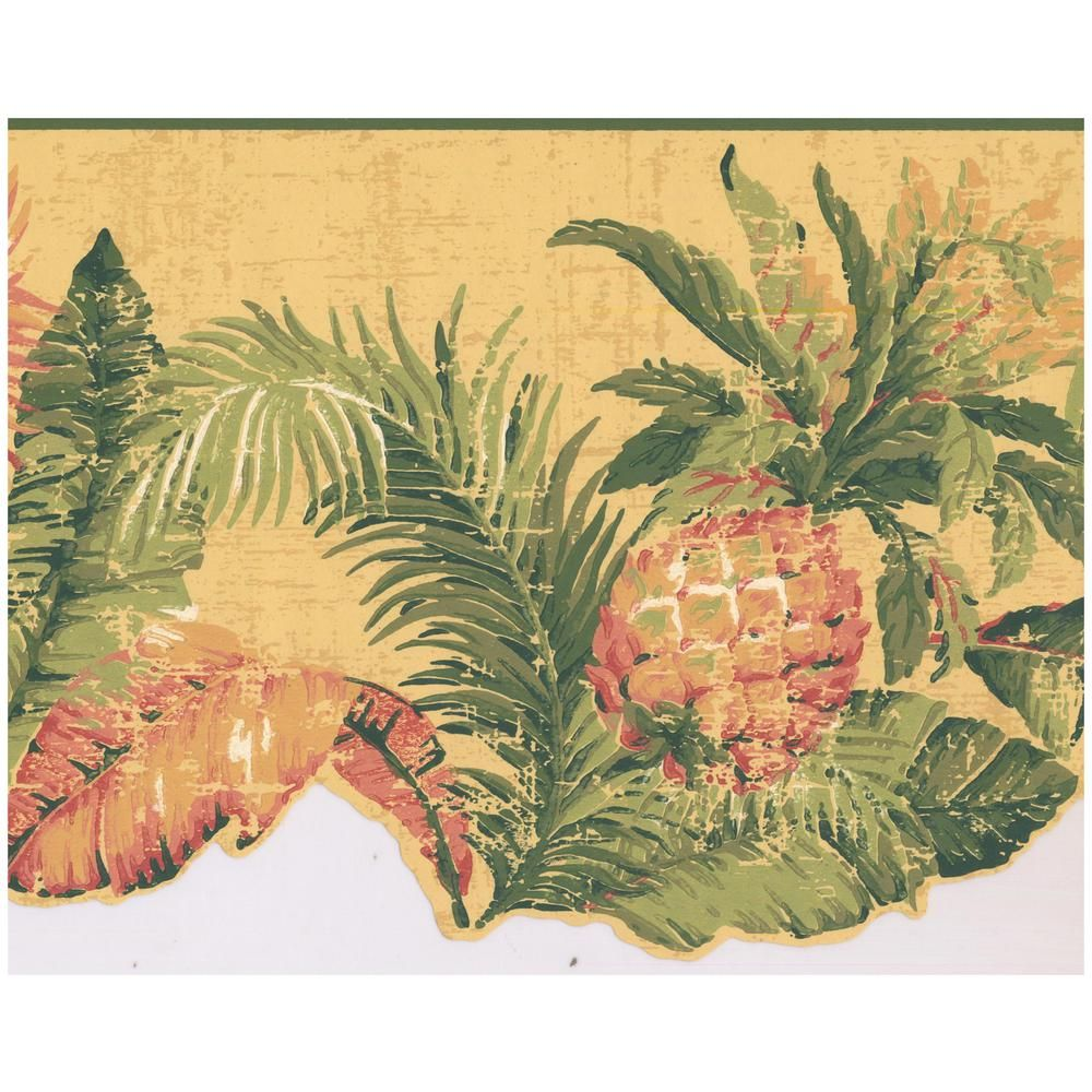 York Wallcoverings Distressed Pineapple Tropical Plants