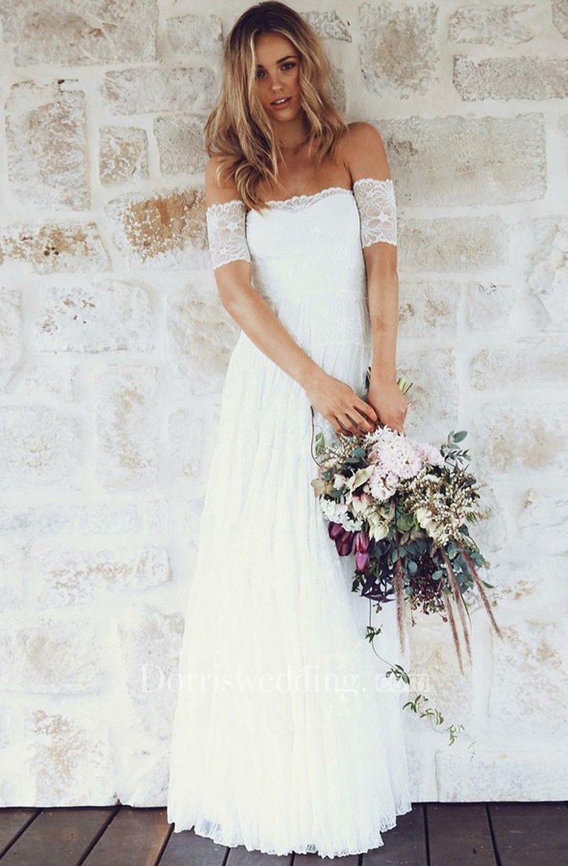 Aline offtheshoulder short sleeves lace boho wedding dress