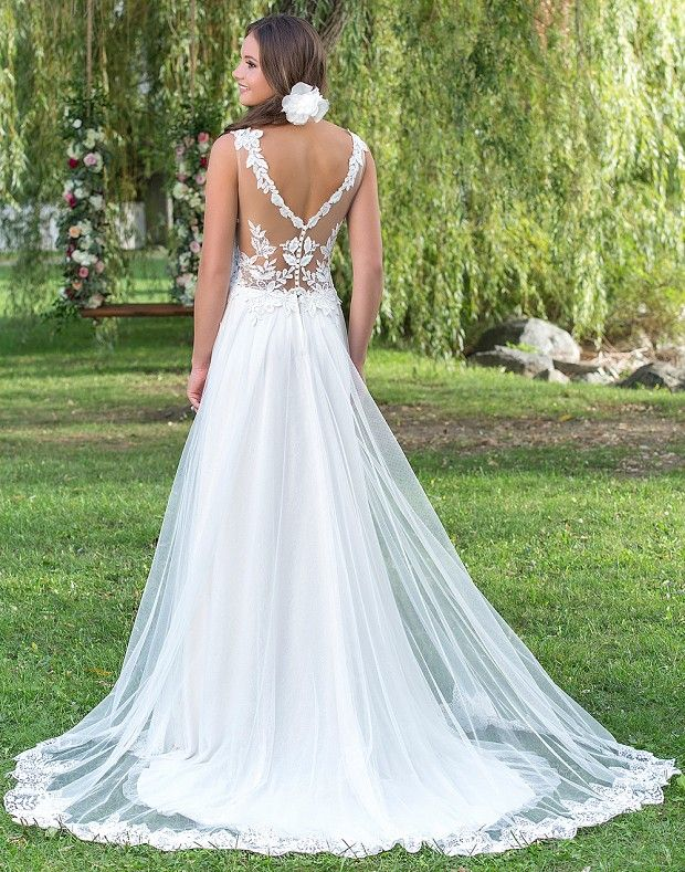 Style 6157: Dropped Waist A-Line with Floral Details | Sweetheart ...