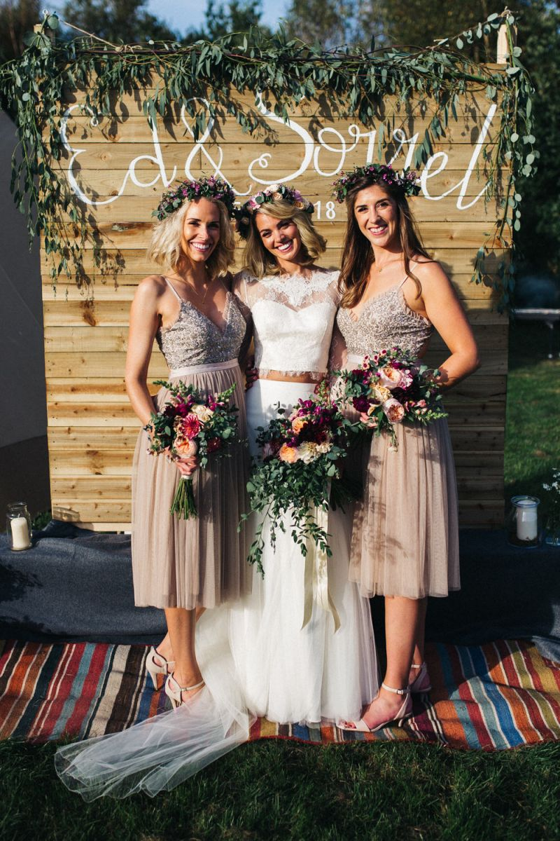 Tipi Wedding At Bentley Motor Museum With Wild Flowers And Hand Painted Leather Jackets Rock My Wedding Blue Bridesmaid Dresses Short Tipi Wedding Blue Bridesmaid Dresses [ 1200 x 800 Pixel ]