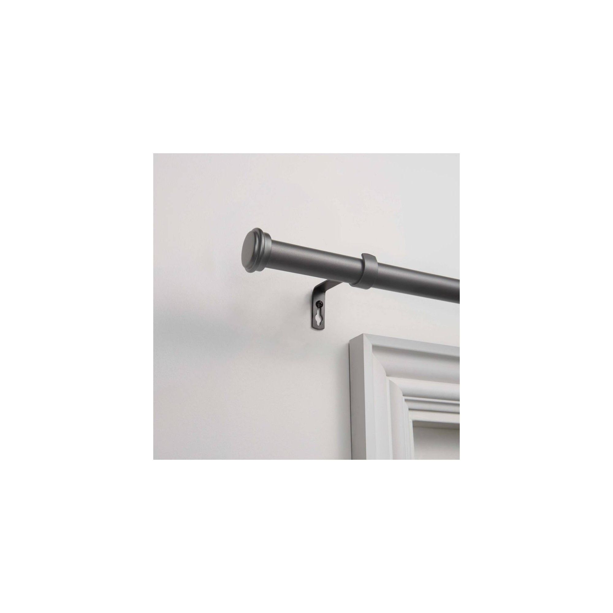 Topper 1 Curtain Rod And Coordinating Finial Set Matte Black