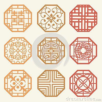 korean design pattern   Korean Old Of Window Frame Symbol Sets. Korean Traditional Patte Stock ...