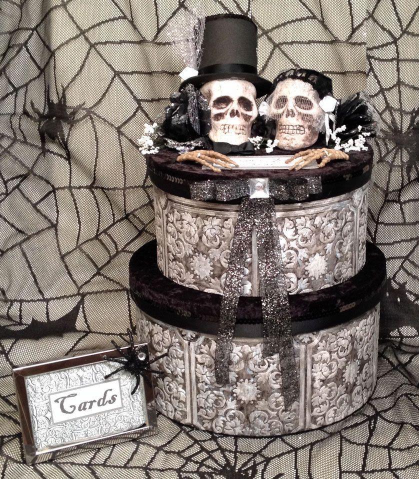 Halloween wedding card boxblackredcakefabricgothic