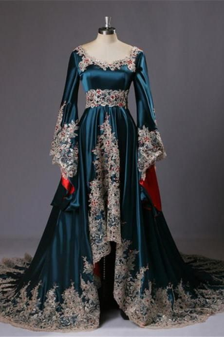 1d6404c90641d Kaftan Long Sleeve Arabic Prom Dresses Vestido De Festa Curto Evening Dress