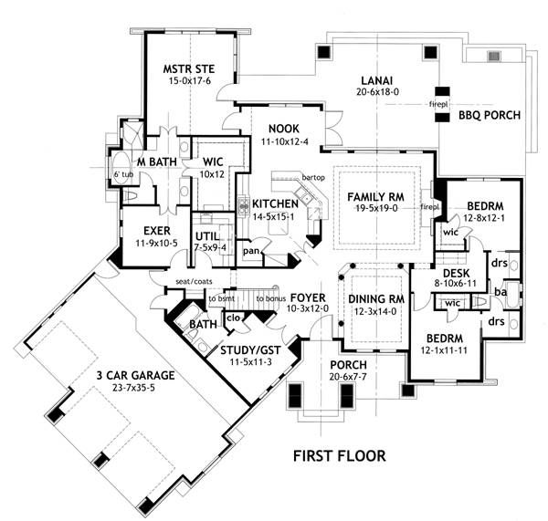 First Floor Plan Image Of Featured House Plan Bhg 2297