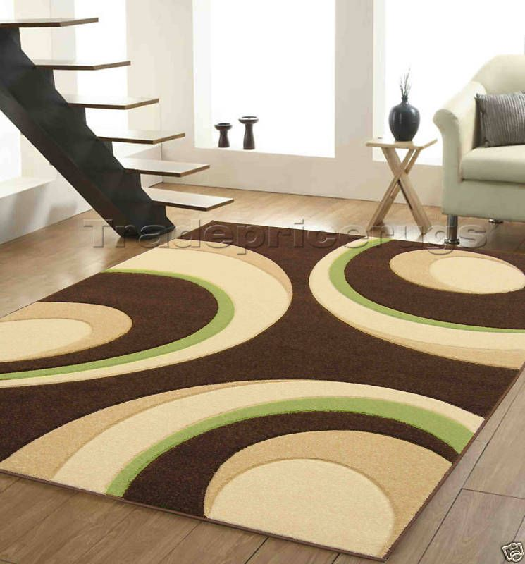 New Modern Chocolate Brown Beige Lime Green Rug 120x165