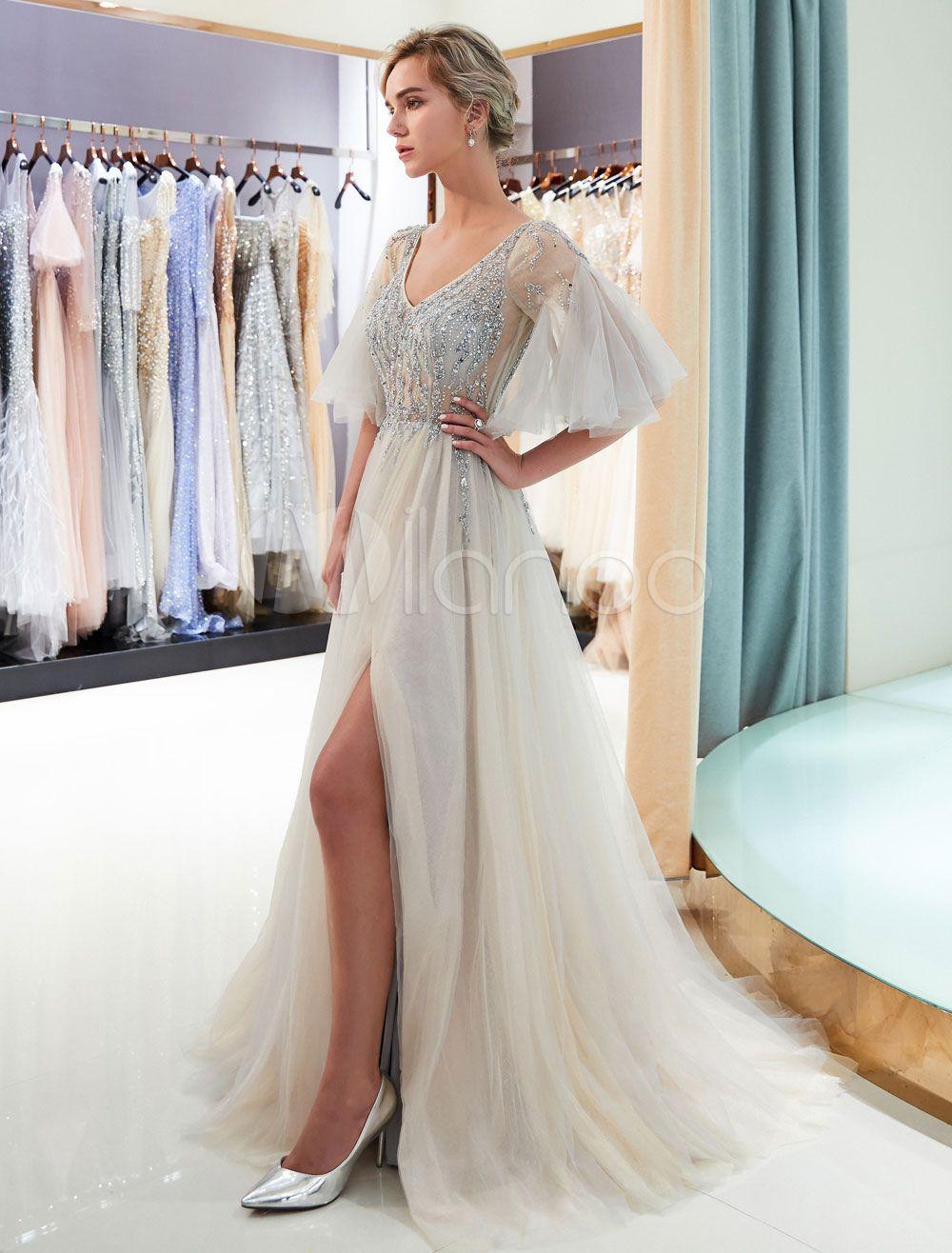 91a6b8ca3855f Prom Dresses Light Grey Beaded V Neck Half Sleeve Tulle A Line ...