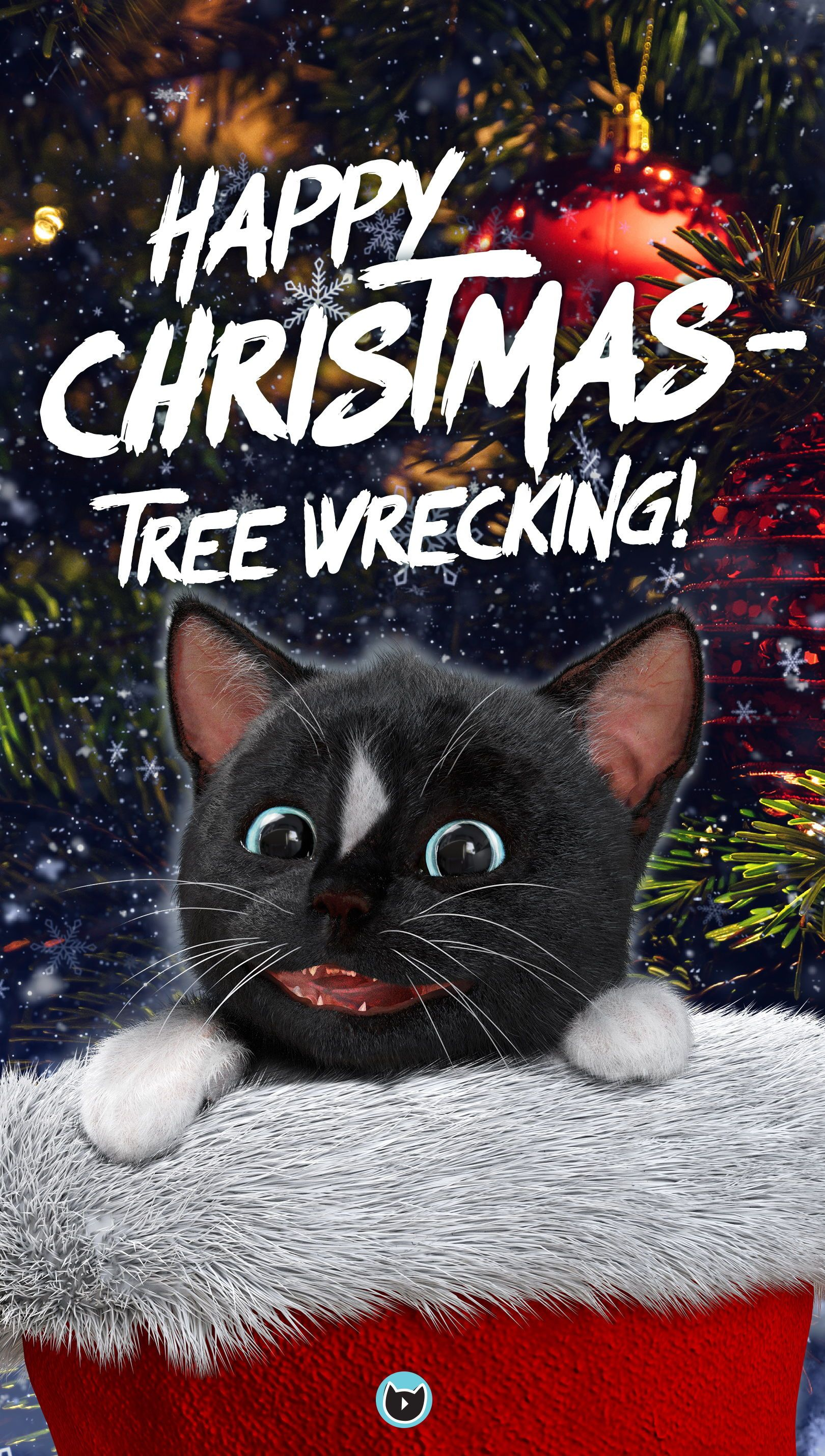 Cat Christmas Tree Happy Xmas Tree Wrecking Cat Holidays Christmas Cats Funny Cat Pictures