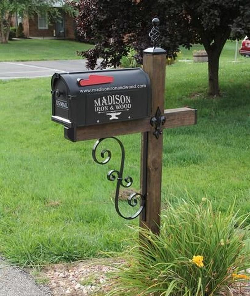 52 Beautiful Mailbox Ideas For First Impression Wrought Iron Mailbox Mailbox Landscaping Mailbox Post