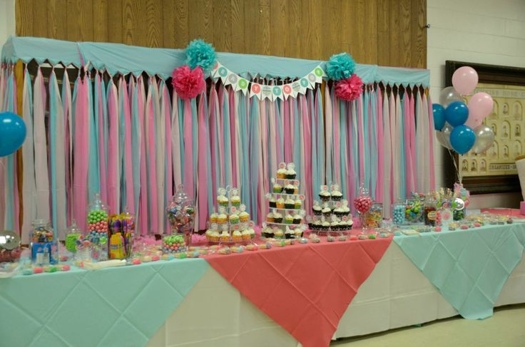 Elegant Ready To Pop Baby Shower   Candy Buffet   Dessert Table   Dollar Store Plastic  Tablecloth Backdrop