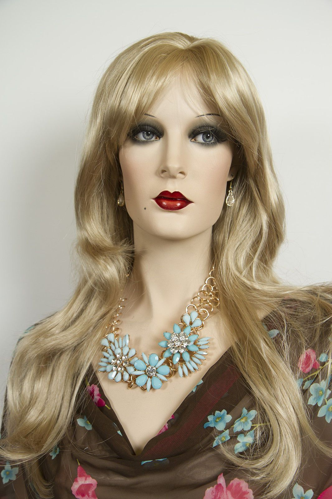 Light Golden Blonde Blonde Long Skin Top Wavy Straight Wigs