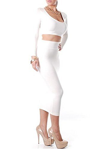 19383cf2b Memorose Womens Crop Top Midi Skirt Outfit 2 Piece Slim Bodycon Bandage  Dress White ** Want to know more, click on the image. (This is an affiliate  link)