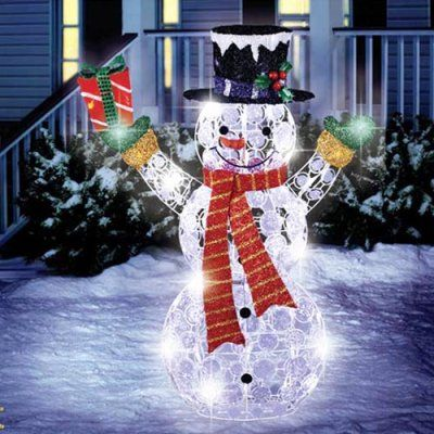 Christmas Decoration 36 Led Random Twinkling Crystal Disc Snowman With Gift Box Sculpture Small Christmas Trees Christmas Tree Sale Christmas Decorations