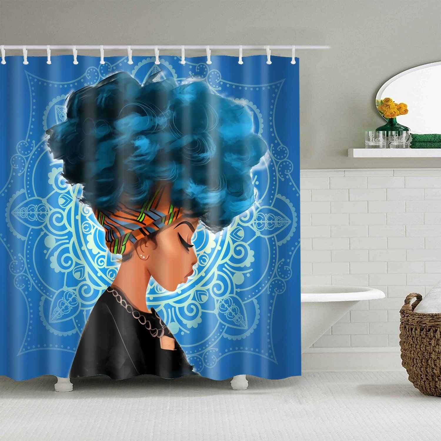 Afro African Black Girl Magic Shower Curtain Bathroom Decor Afro Shower Curtain Girl Bathroom Decor Girls Shower Curtain