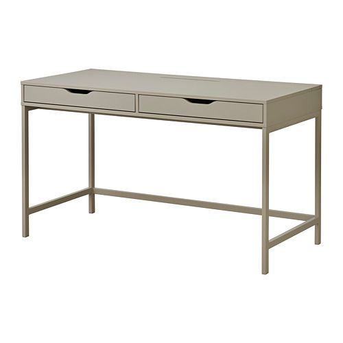 ALEX Desk IKEA Drawer stops prevent the drawers from being pulled out too far. Can be placed anywhere in the room because the back is finished.