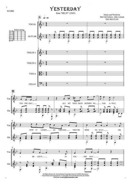 Yesterday - Paul McCartney - Sheet music and guitar tablatures ...