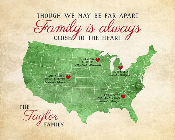 Gift for Family, Family Quote, Long Distance Family Map