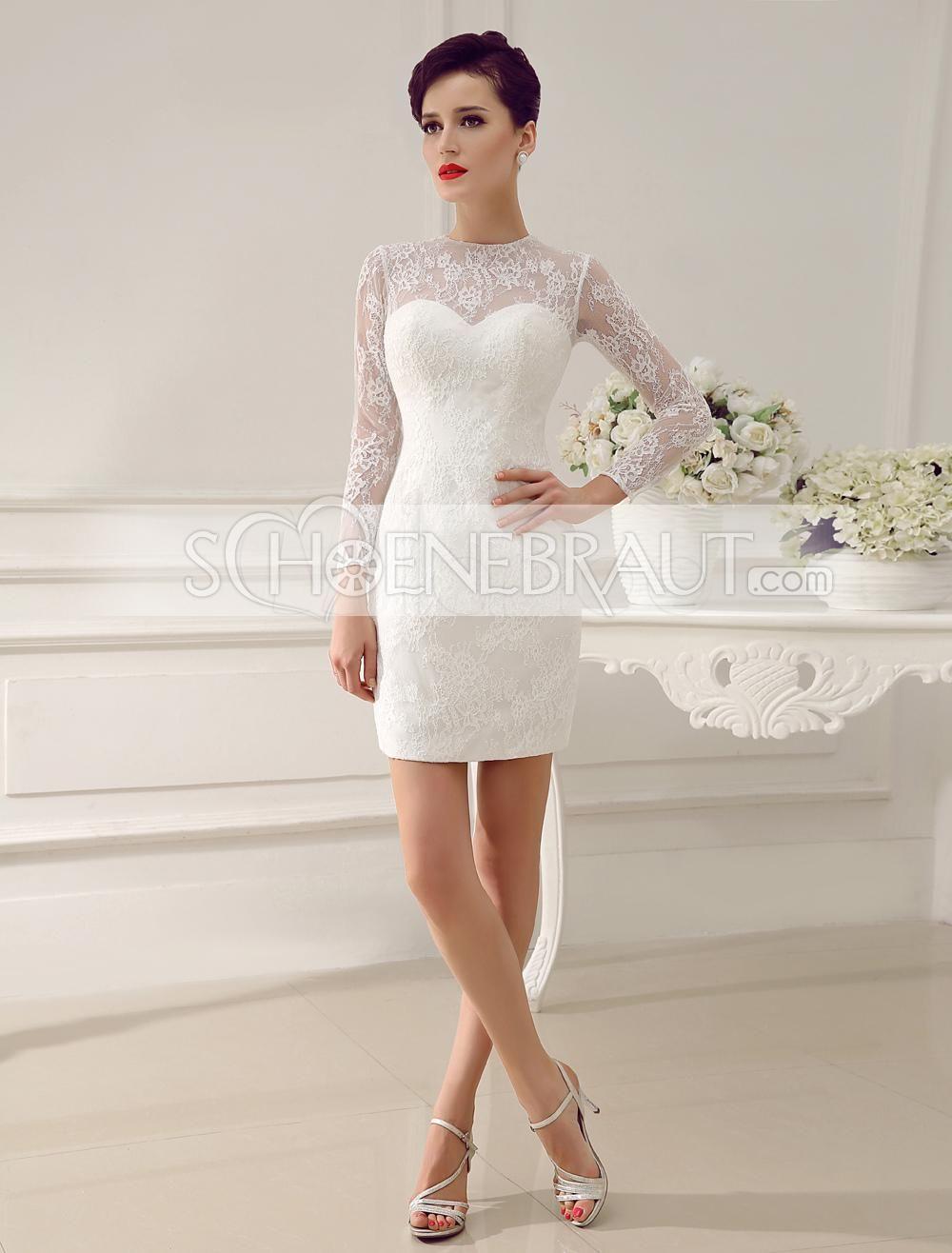 Etui und A Linie Brautkleid mit Spitze und Ärmel mit abnehmbarem ...