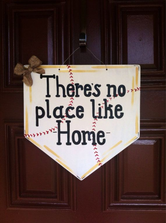Home plate featuring  thereu0027s no place like home  painted door hanger. 16 inch by 16 inch wood acrylic paint burlap. & Baseball Door Hanger Spring Home Plate Wreath by MegCsDesigns ...