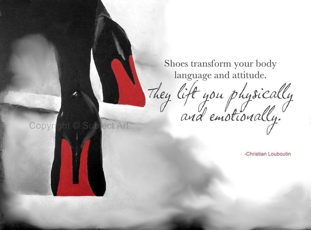 b57c9cdbd83 CHRISTIAN LOUBOUTIN Black Shoes ART PRINT, Fashion Quote 10 x 8 ...