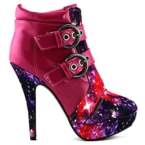 Show Story Pink Schnalle Nachthimmel High Heel Stiletto Plattform Stiefeletten,LF30301HP37,37,Pink