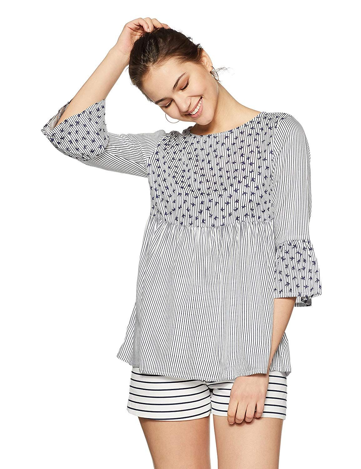 23ca584634852f Styleville.in Women s Striped Regular Fit Top  Amazon.in  Clothing    Accessories  smarttop  girlstop  girlsfashion