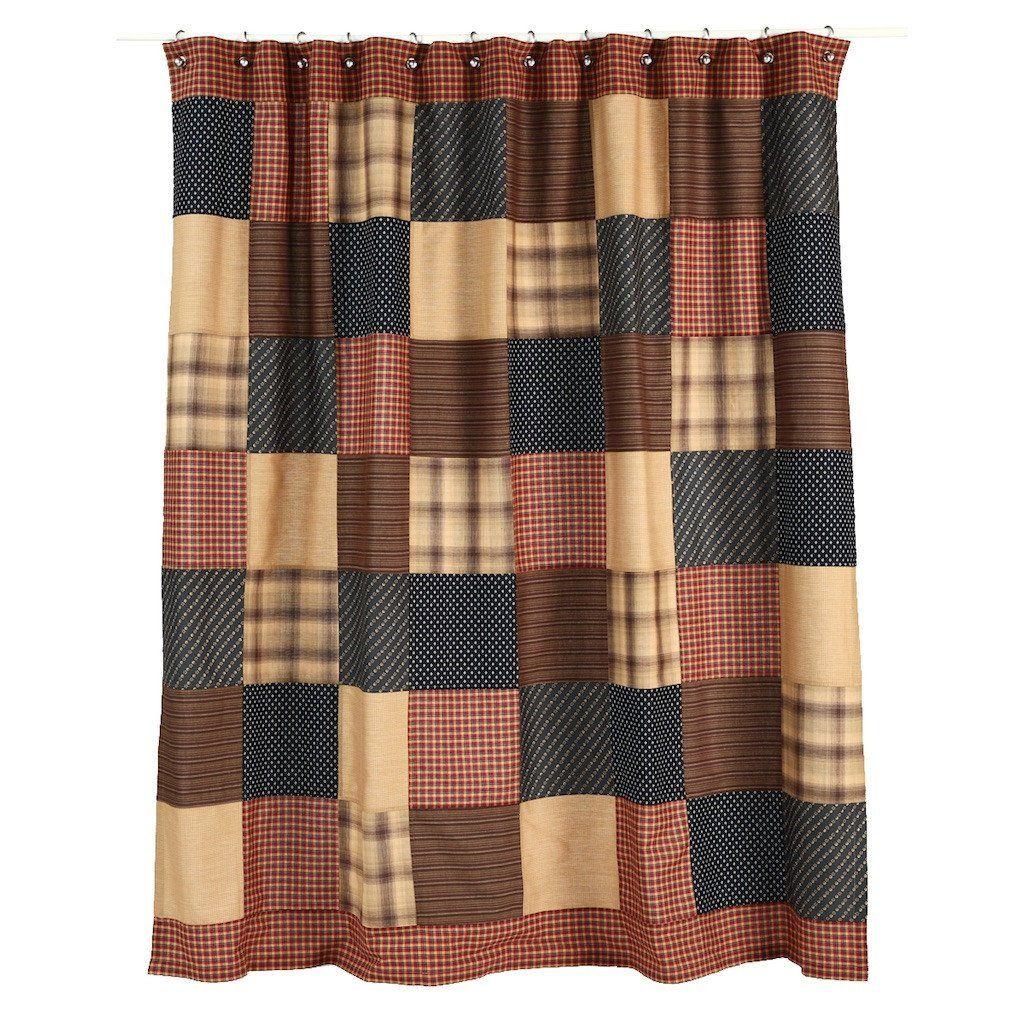 Patriotic Patch Shower Curtain Primitive Shower Curtains Fabric