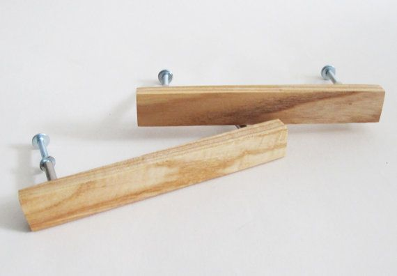 Wooden Drawer Pulls Set Of 2 Oak Wood Drawer Handles Modern