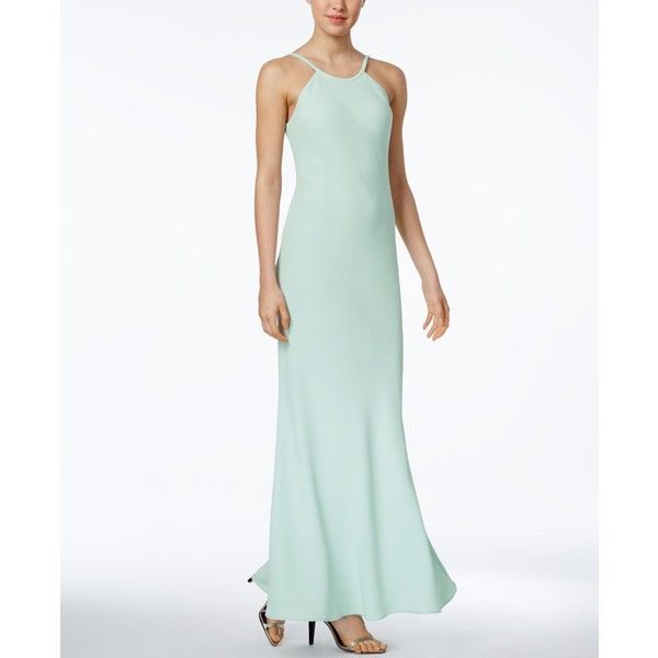 Calvin Klein Open-Back Halter Gown ($199) ❤ liked on Polyvore featuring dresses, gowns, mint, calvin klein gowns, halter evening dress, evening dresses, mint green evening dress and white dresses