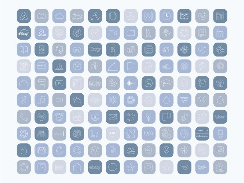iPhone IOS 14 App Icons Pack, Minimal Blue Icon Bu