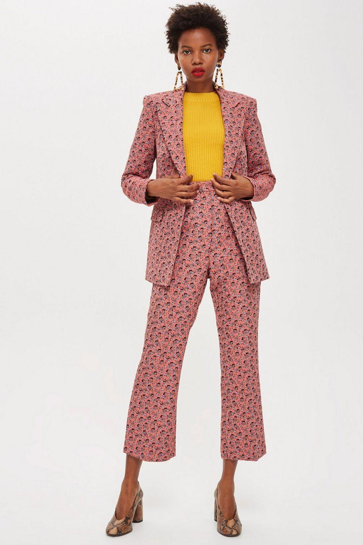 55c6ee67f87 Floral Print Jacquard Kick Flare Trousers - Pants   Leggings - Clothing - Topshop  USA