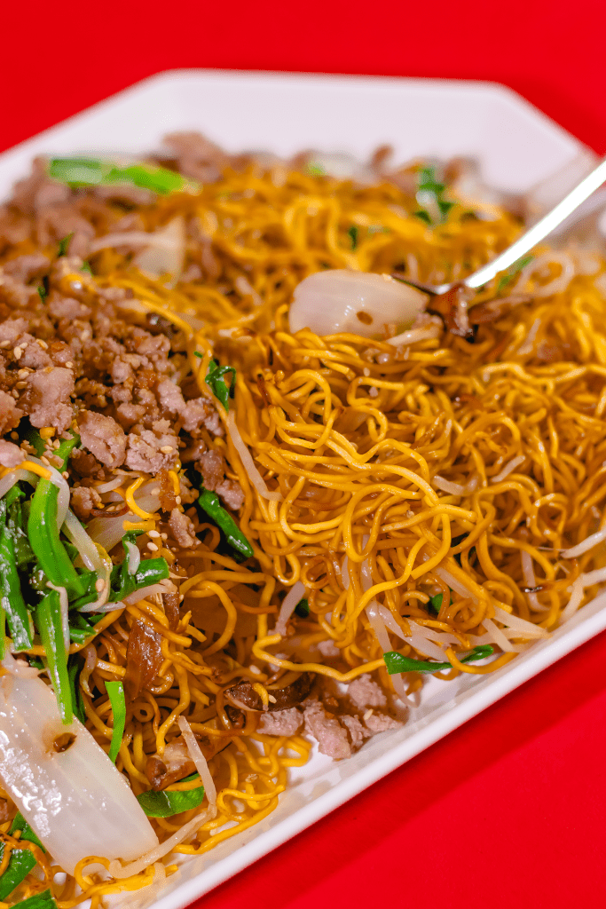 Chinese Pan Fried Noodle With Pork Kiyafries Recipe Pan Fried Noodles Fried Noodles Recipe Chinese Noodle Dishes