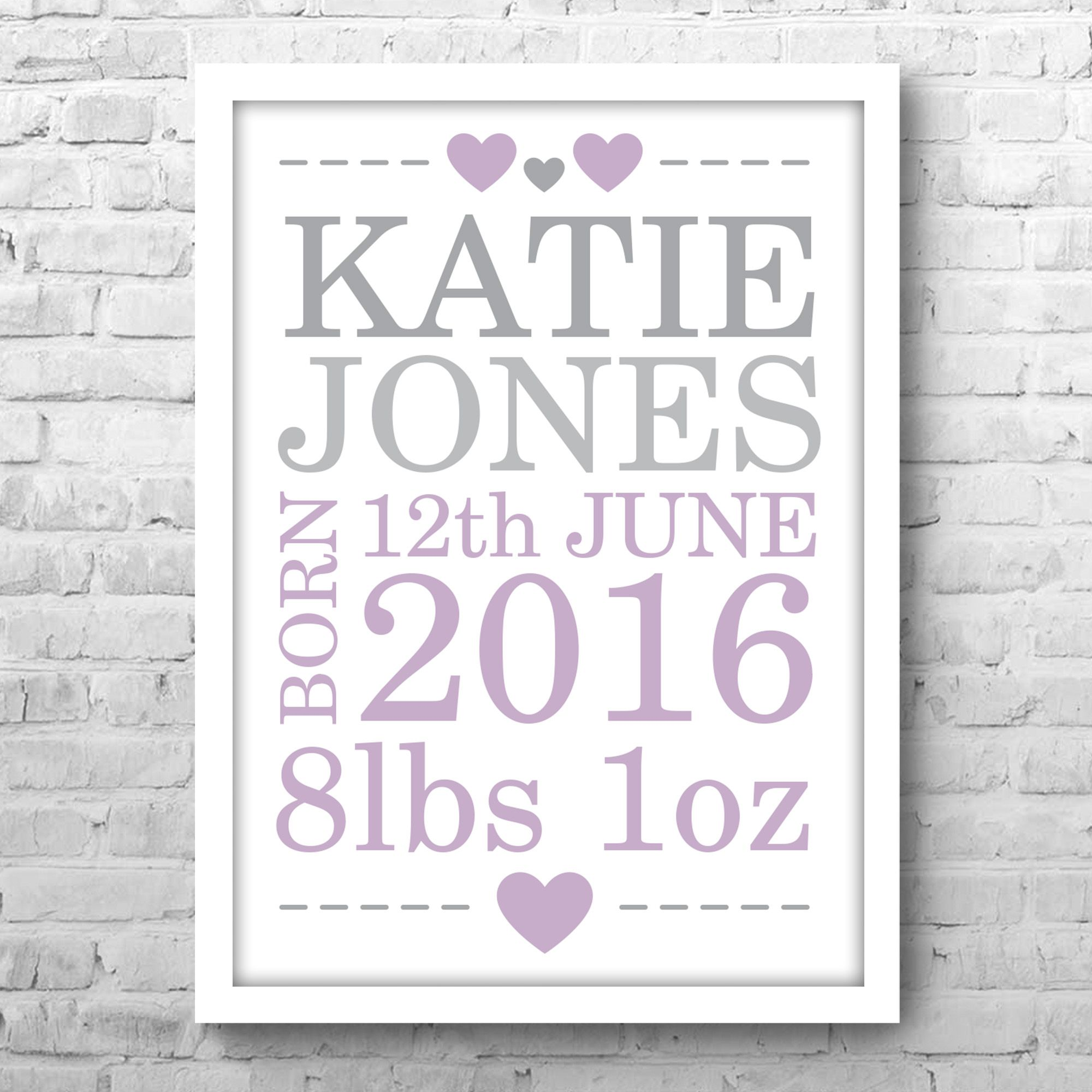 Baby Shower birth gift print. Personalised Print and Gifts From The Little Gift Factory - Personalised Art Gifts For Him and Her. Picture Poster Gifts For Weddings, Birthdays Baby Child