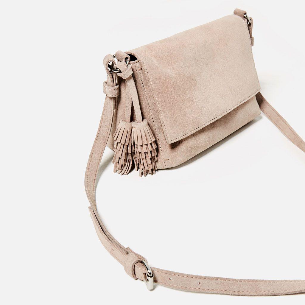 7fb1ec4606 ... Image 1 of SPLIT-SUEDE CROSSBODY BAG WITH TASSELS from Zara ...