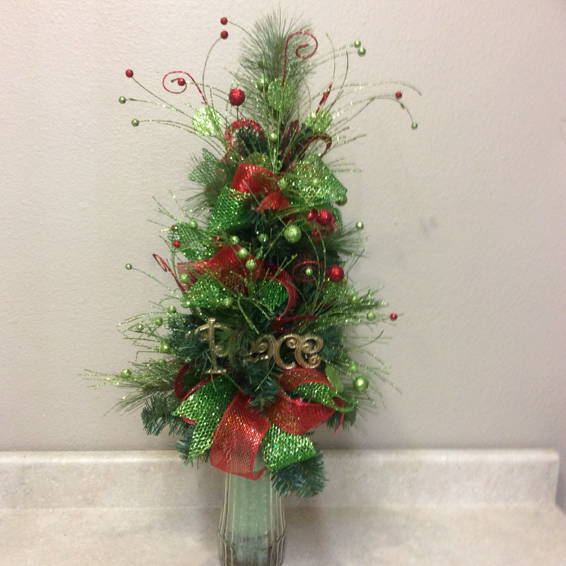 Quot Little Tree Quot Cemetary Arrangement Silk And Craft Creations Christmas Floral Arrangements